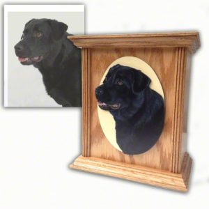 hand painted portrait wooden urn