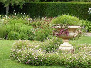 pet urn in garden