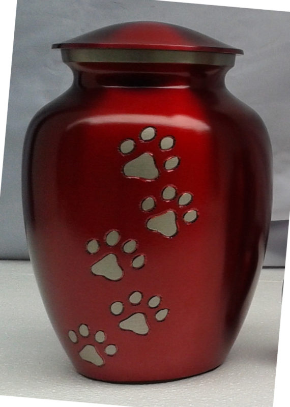 Ottillie Paws in Ruby Red with Vertical Pewter Paws