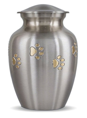 Ottillie Series Pet Urn in Pewter with Horizontal Brass Paws