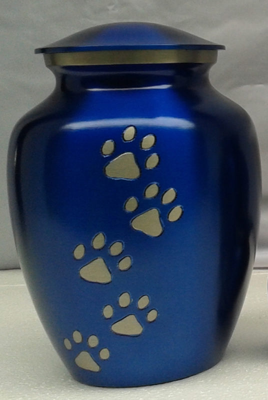 Ottillie Paws Pure Blue Urn with Vertical Pewter Paws