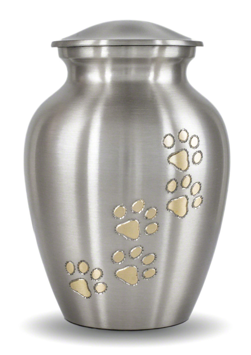 Ottilie Series Pewter Urn with Vertical Brass Paws