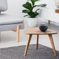 Cup on a wooden coffee table